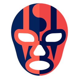 Máscara de luchador listrada yin e yang plana