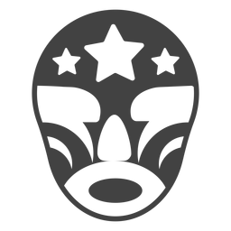 Silhueta detalhada luchador estrela máscara