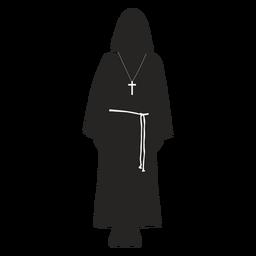 Monje sacerdote cruz cinturón silueta detallada