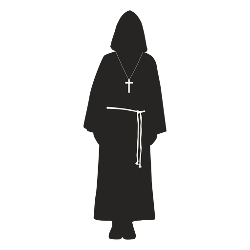 Monk priest cross belt detailed silhouette Transparent PNG