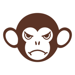 Hocico de cabeza de mono enojado plano