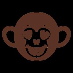 Bozal de cabeza de mono enamorado plano
