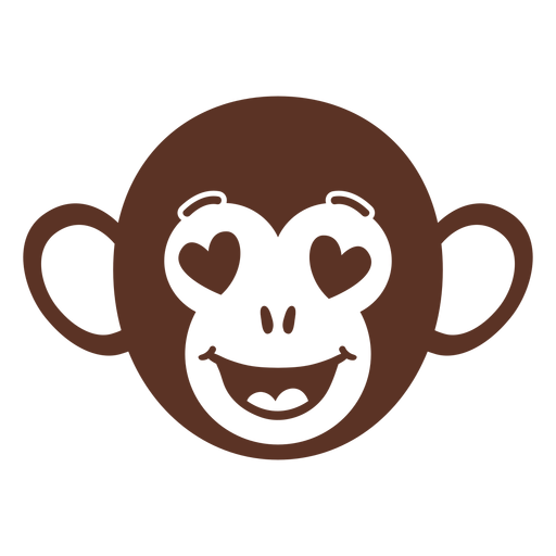 Monkey enamoured head muzzle flat Transparent PNG