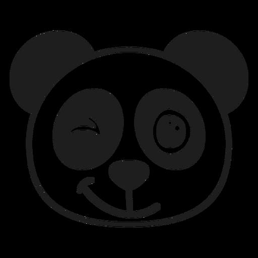 Traço focinho da cabeça piscante do panda