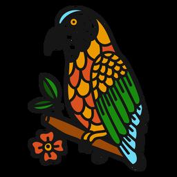 Loro rama flor color tatuaje trazo