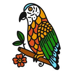 Parrot branch flower colored coloured tattoo stroke
