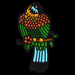 Papagaio flor ramo colorido tatuagem colorida
