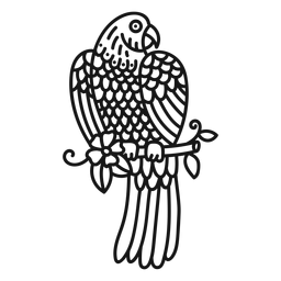 Trazo de tatuaje de rama de flor de loro