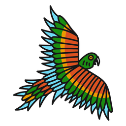 Trazo de tatuaje de color de loro volando