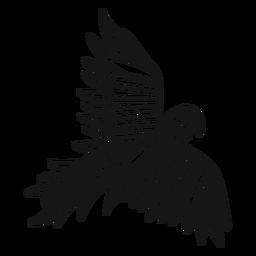 Trazo de tatuaje de loro volador