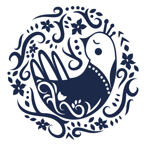 Ilustración de diseño de flor de ornamento de pájaro de patrón Transparent PNG