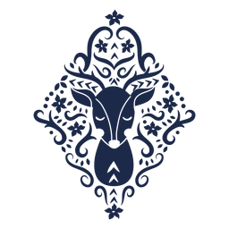 Ilustración de diseño de patrón ornamento flor ciervos