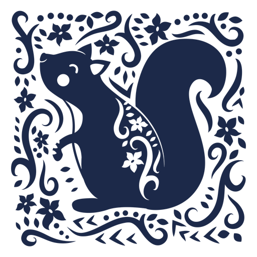 Pattern ornament flower squirrel design illustration Transparent PNG