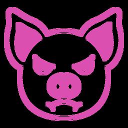 Golpe de hocico de cabeza enojada de cerdo