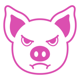 Pig angry head muzzle stroke