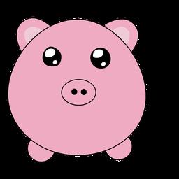 Lindo bozal hinchado de cerdo plano
