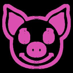 Golpe de hocico de cabeza alegre de cerdo