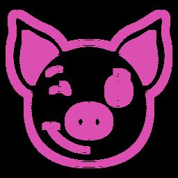 Golpe de hocico de cabeza de guiño de cerdo