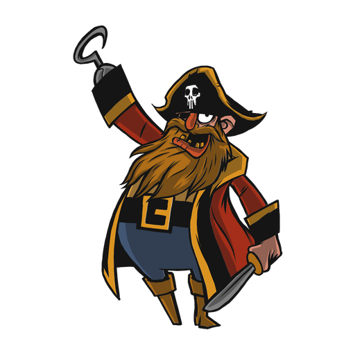 Pirate cocked hat beard flat Transparent PNG