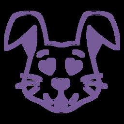 Conejo enamorado cabeza trazo hocico