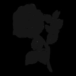 Silhueta detalhada de folha de pétala de rosa