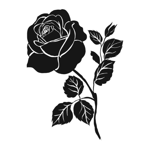 Rose petal leaf detailed silhouette