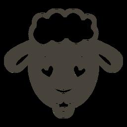 Ovelha enamorada cabeça focinho plana