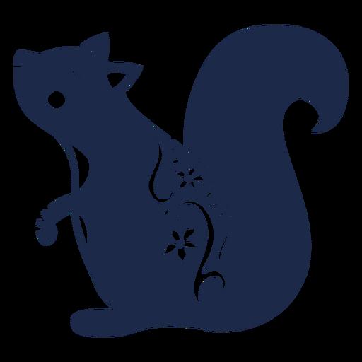 Squirrel flower pattern ornament illustration