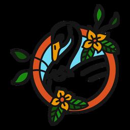Cisne flor colorido tatuagem colorida