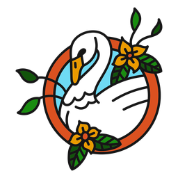 Flor de cisne de color trazo de tatuaje de color