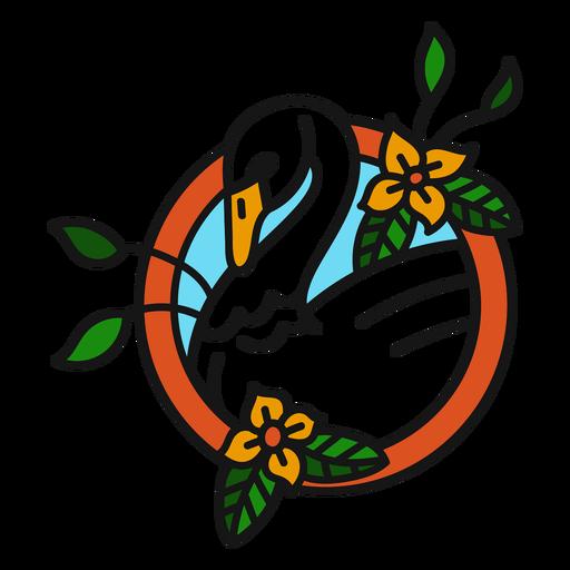 Flor de cisne de color trazo de tatuaje de color Transparent PNG