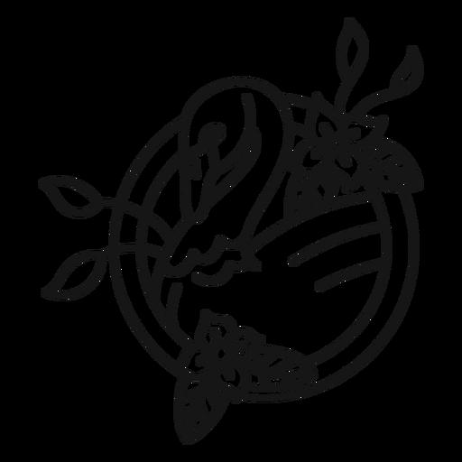 Swan flower tattoo stroke Transparent PNG