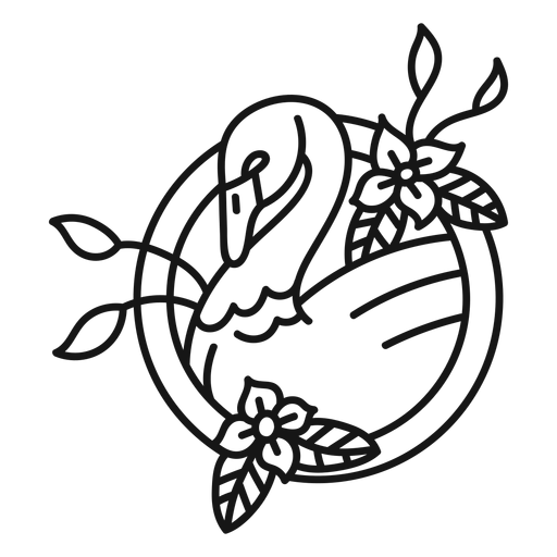Swan flower tattoo stroke