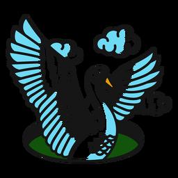 Nube de alas de cisne color tatuaje trazo