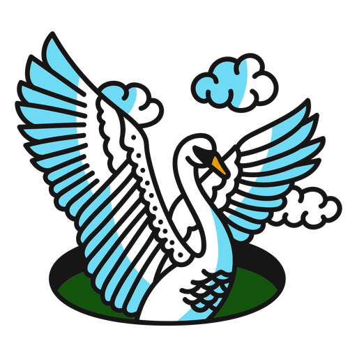Swan wing cloud colored coloured tattoo stroke Transparent PNG