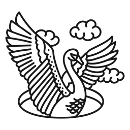 Curso de tatuagem de nuvem de asa de cisne