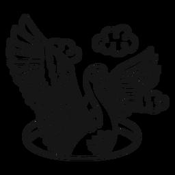 Swan wing vintage tattoo stroke