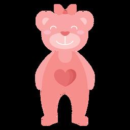 Urso de pelúcia sorrir arco coração plana