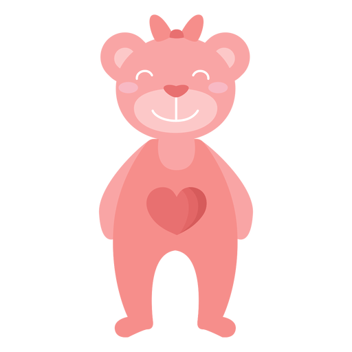 Teddy bear smile bow heart flat Transparent PNG