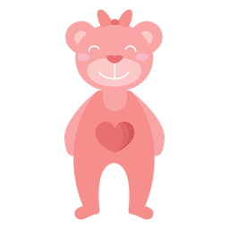 Teddy bear smile heart bow flat