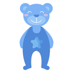 Teddy bear smile star flat