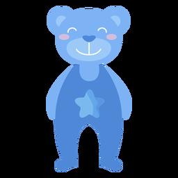 Urso de pelúcia sorrir estrela plana