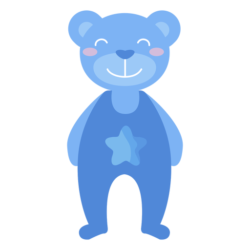 Teddy bear star smile flat Transparent PNG
