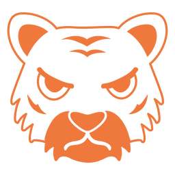 Tiger angry head muzzle stroke