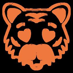Curso de focinho de cabeça de tigre apaixonado