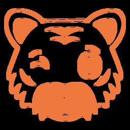 Tiger wink head muzzle stroke