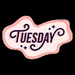 Etiqueta engomada de la insignia del martes