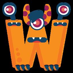 W w letter monster flat