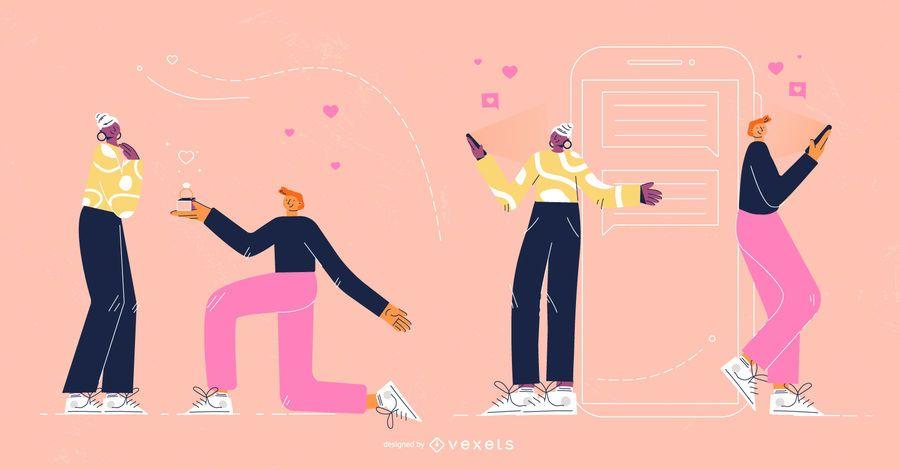 Conjunto de caracteres do dia dos namorados
