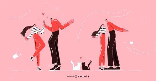 Valentinstag paar Zeichensatz